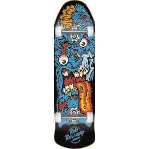 Santa Cruz Roskopp Face 2 Black Skateboard   9.9x30.8 w/Raw Trucks
