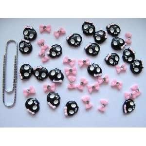 Nail Art 3d 40 Piece Black/Pink Skull & BOW/RHINESTONE for