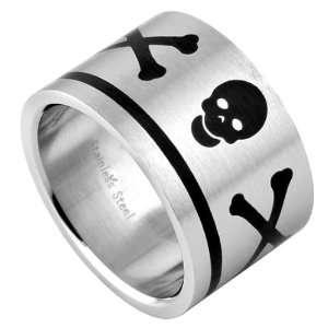 316L Matte Stainless Steel Skull Cross Bone Ring   Size 12 Jewelry
