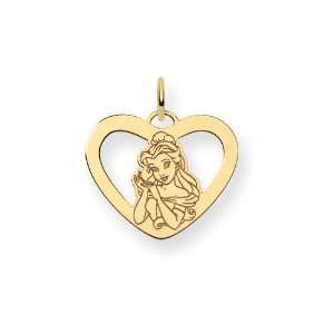 Gold Plated Sterling Silver Disney Belle Heart Charm Jewelry