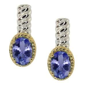 Oval Blue Tanzanite Sterling Silver 10k Yellow Gold Earrings Jewelry