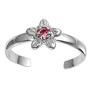 Sterling Silver Fashion Toe Ring  Star with Pink CZ   2mm