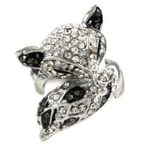 Sly Fox Fashion Ring on Unique Beaded Stretch Band Black/Hematite Tone