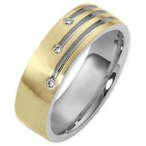 Tone Gold Diamond Unique Comfort Fit Wedding Band Ring   6.25 Jewelry