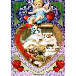 Hearts Vintage Valentines Day Cards School Package Office Products