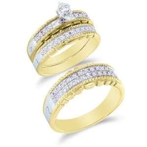 Trio 3 Three Ring Bridal Matching Engagement Wedding Ring Band Set