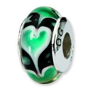 Blue Heart Hand blown Glass Bead (4mm Diameter Hole) West Coast