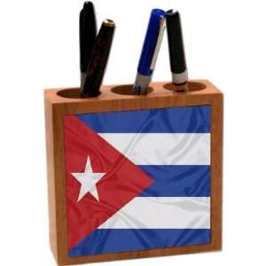 Rikki KnightTM Cuba Flag 5 Inch Tile Maple Finished Wooden Tile
