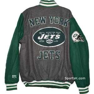 New York Jets Grey Wool Varsity Jacket  Sports & Outdoors