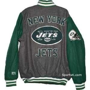 New York Jets Grey Wool Varsity Jacket