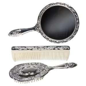 3 pc Silver Chrome Girls Vanity Set Comb Brush Mirror