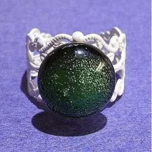 The Black Cat Jewellery Store White Filigree Ring w/ Dichroic Glass