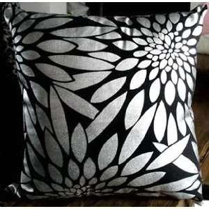 Decorative Black Silver Foil Leaf Throw Pillow Cover