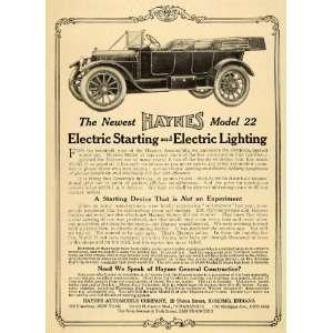 Electric Model 22 Kokomo Car   Original Print Ad Home & Kitchen
