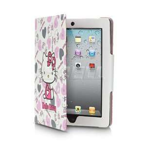 Ecell   WHITE HELLO KITTY LEATHER CASE & STAND FOR APPLE