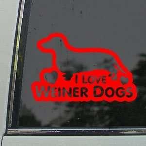 I Love Weiner Dogs Red Decal Car Truck Window Red Sticker