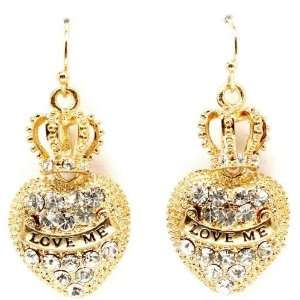 Crown Heart Crystal Pave Couture Dangle Earrings with Love Me Banner