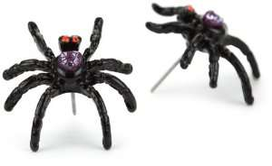 Betsey Johnson Dark Forest Crystal Spider Stud Earrings Jewelry