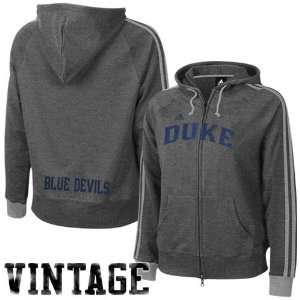 adidas Duke Blue Devils Ladies Charcoal College Town Full Zip Vintage
