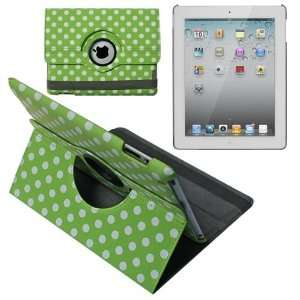 Skque Green with White Polka Dots 360 Rotating Leather Case + Clear