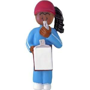 Female African American Coach Personalized Christmas Ornament or Room