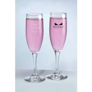 Maid of Honor with Heart & Bow Tie Glass Toasting Flutes Jewelry