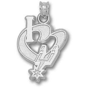 San Antonio Spurs NBA I Heart Logo 3/4 Pendant (Silver