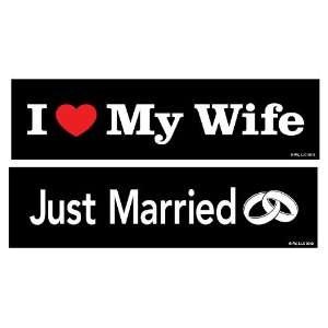 Two In Love 2 Pack Just Married/I Love My Wife Car Decal