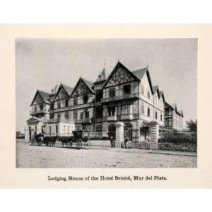 1913 Print Lodging House Hotel Bristol Mar del Plata