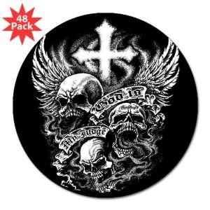 3 Lapel Sticker (48 Pack) God Is My Judge Skulls Cross