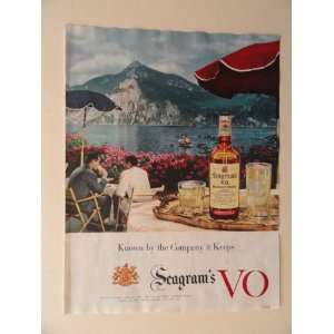 Seagrams VO. 1956 full page print advertisement.(lake/boat/mountians