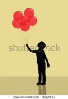 Boy Holding Red Balloons. Silhouette Stock Vector 69837664