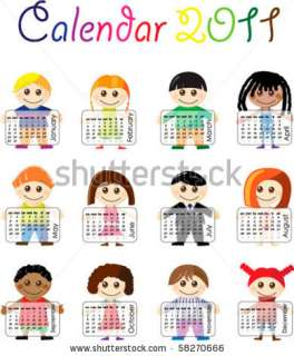 Calendar 2011 With Illustrated Cartoon Kids Stock Vector 58270666