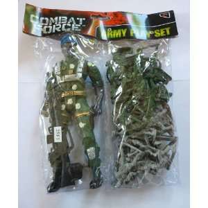 Combat Force Plastic Toy Army Men Soldiers Set With Commander, Big Gun