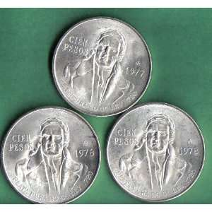 Set of 3 100 Pesos Mexican Silver Coins Everything Else