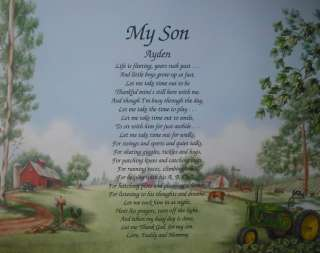 MY SON POEM PERSONALIZED POEM GIFT JOHN DEERE DECOR
