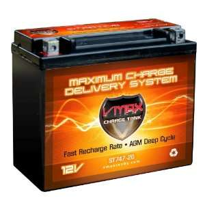 , MOTORCYCLE deep cycle battery AGM 20AH VMAX Battery Electronics