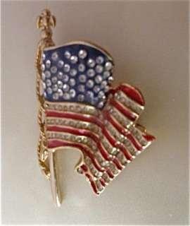 11 2001 MONET American Flag Pin Rhinestone UNITED WE STAND