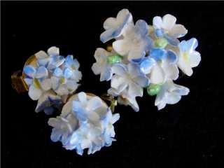 Vtg Estate Royal Adderley Floral porcelain Earring Pin Brooch Demi Set