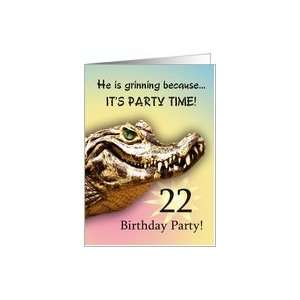 22 Party Invitiation. A big alligator smile for you Card: Toys & Games