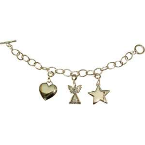 Heart, Angel and Star Silver Tone Charm Bracelet