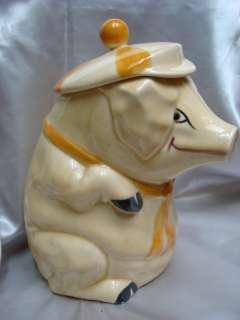 VINTAGE CERAMIC COOKIE JAR SMILING PIG hat POTTERY