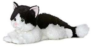 Aurora Plush Kitty Cat Oreo Black Kitten Flopsie Stuffed Animal Toy