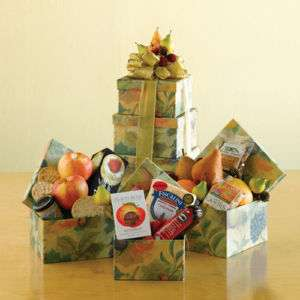 CHRISTMAS HOLIDAY TOWER GIFT BASKETS FRUIT CHOCOLATE BAKED GOODS