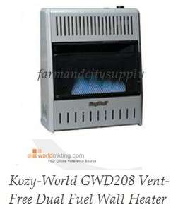KOZY WORLD GWD208 DUAL FUEL WALL HEATER W/ THERMOSTAT VENT FREE 20000