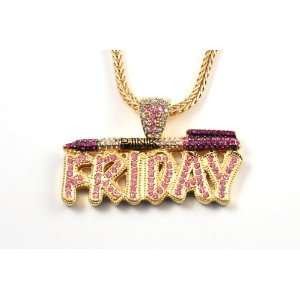 NICKI MINAJs Barbie Pink Friday Charm Pendant w/ Franco Chain SM Gold