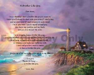 Personalized Poem for Brother Birthday Keepsake Gift