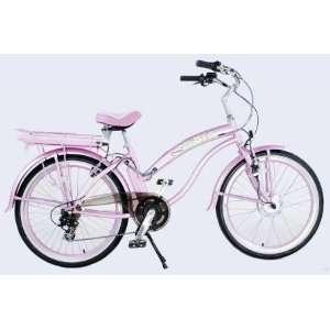 Beach Cruiser Electric Bicycle Bike   Ladies Pink