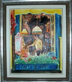 Christine ART Original Oil Painting WINDOW CAFE* Signed