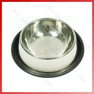 Stainless Pet Dog Cat Food Water Bowl Dish NON Skid New